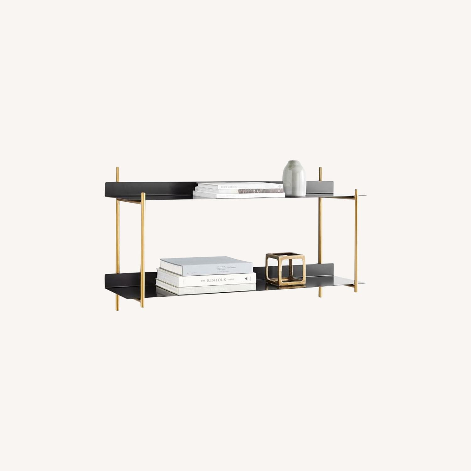 West Elm Floating Lines 2- Tiered Wall Shelf - image-0