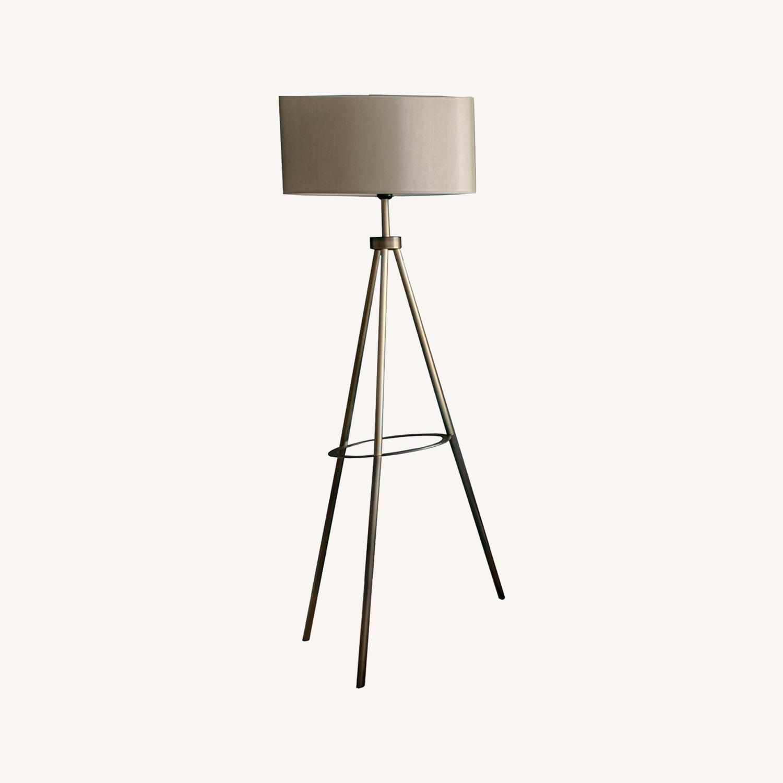 Floor Lamp - Cream Color with Brass Metal - image-0