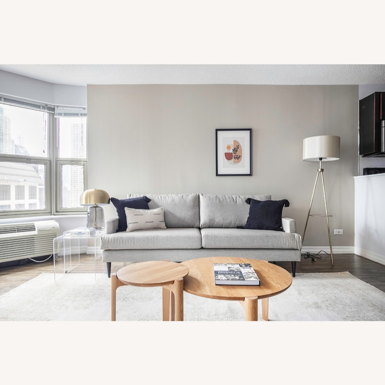 Floor Lamp - Cream Color with Brass Metal - image-3