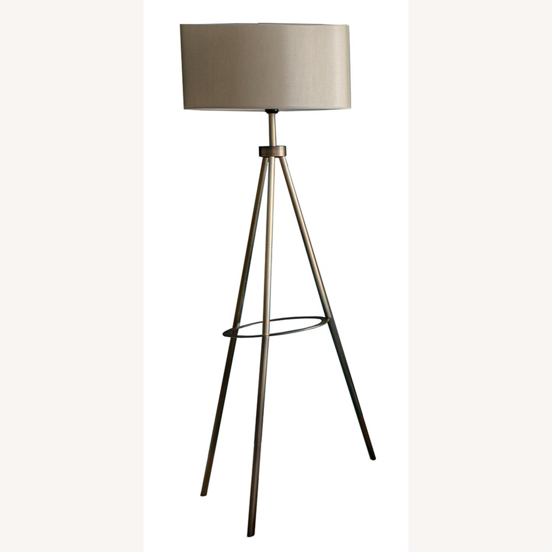 Floor Lamp - Cream Color with Brass Metal - image-1