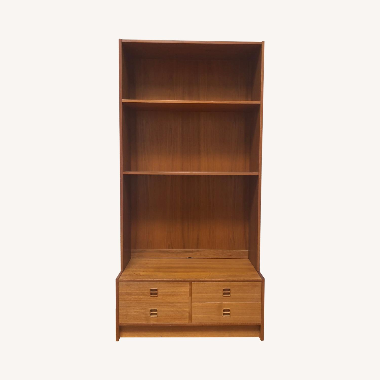 Danish Modern Shelving Unit with Four Drawers - image-0