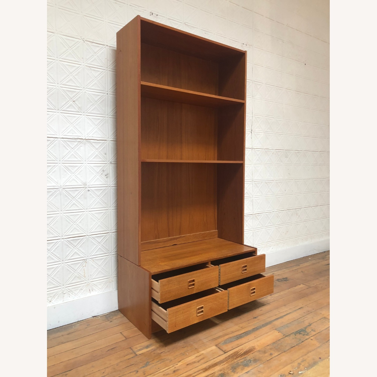Danish Modern Shelving Unit with Four Drawers - image-1