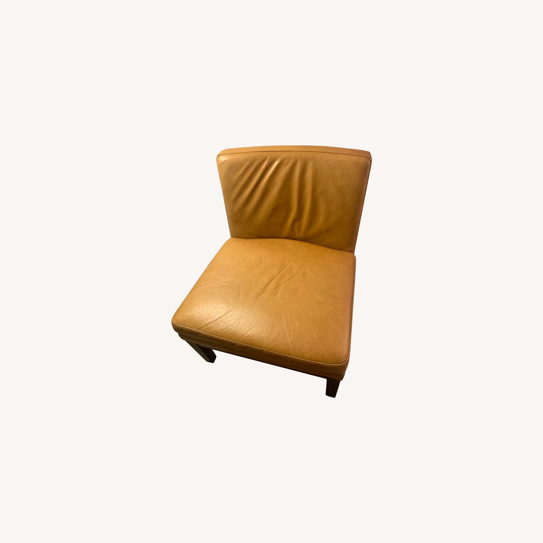 West Elm Orange Tan Leather Chair - image-0