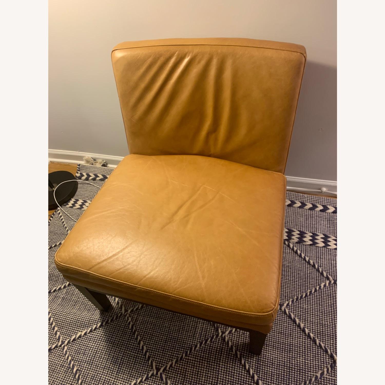 West Elm Orange Tan Leather Chair - image-1