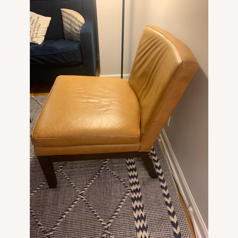 West Elm Orange Tan Leather Chair - image-2