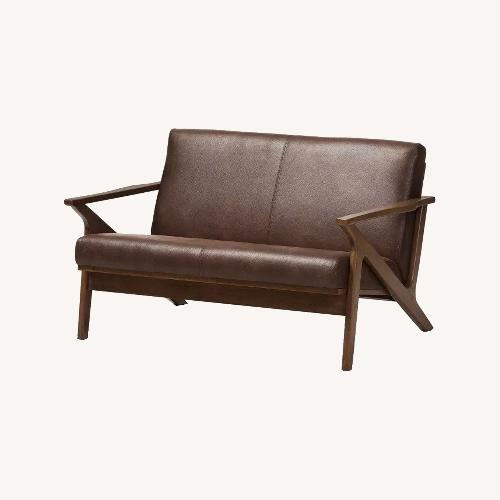 Used Baxton Studio Walnut Faux Leather Couch Loveseat for sale on AptDeco
