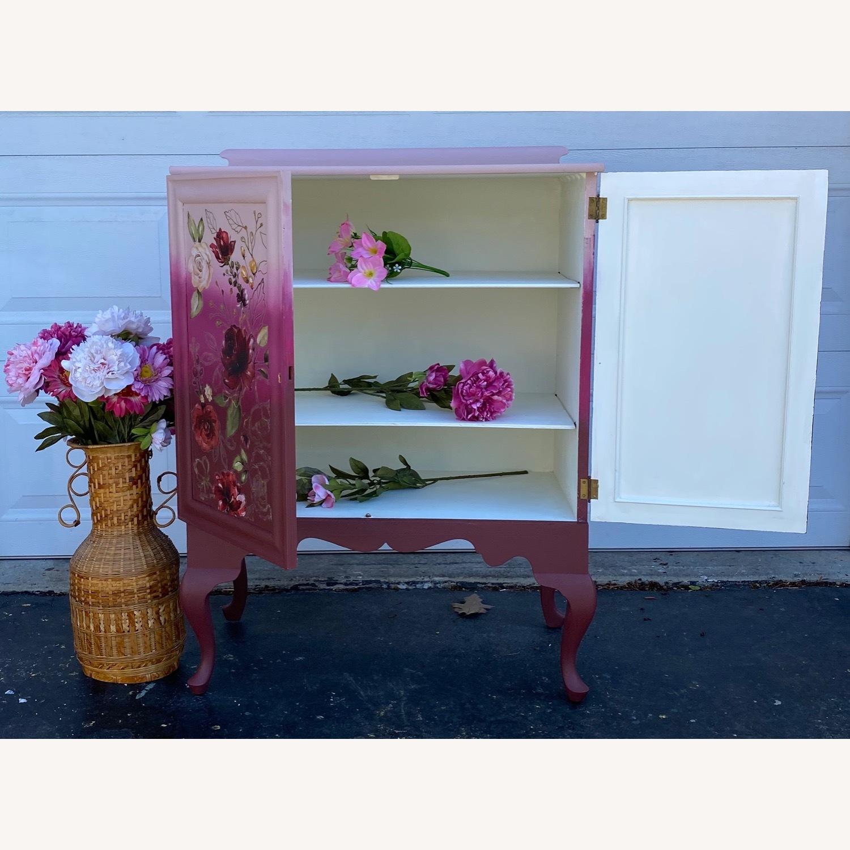 Vintage Pink Ombr Floral Cabinet - image-3