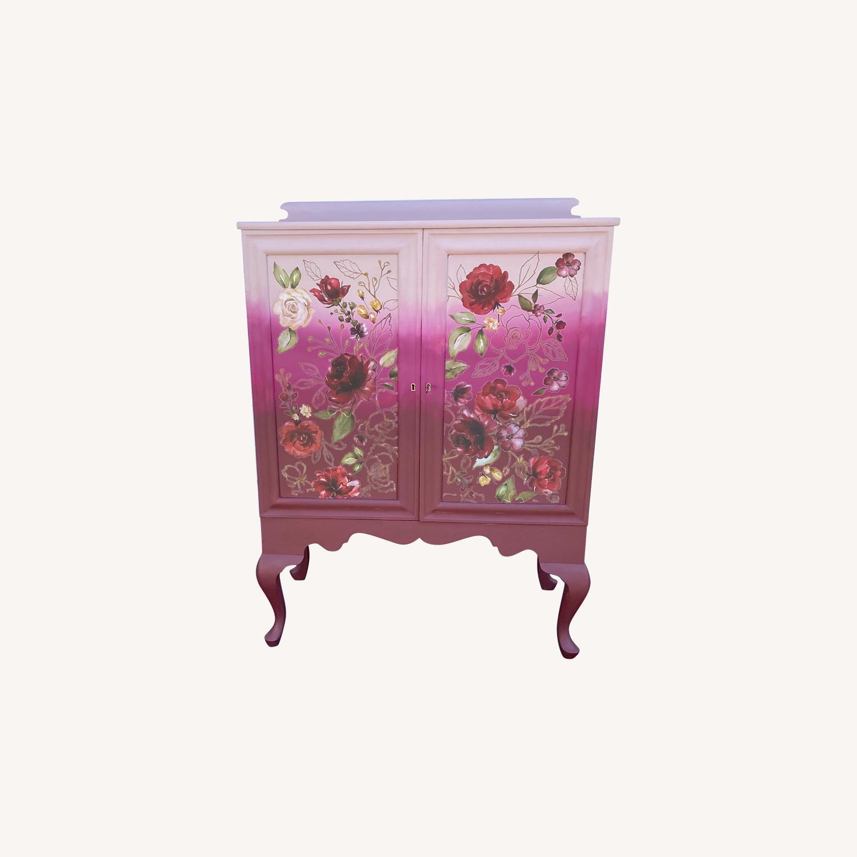Vintage Pink Ombr Floral Cabinet - image-0