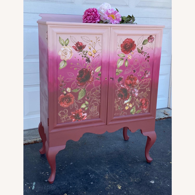 Vintage Pink Ombr Floral Cabinet - image-7