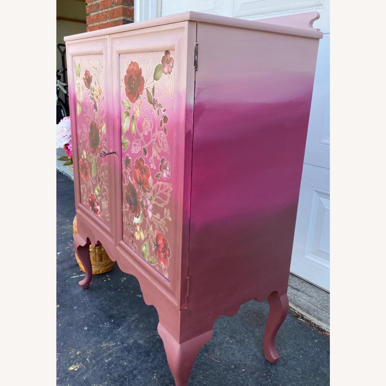 Vintage Pink Ombr Floral Cabinet - image-5