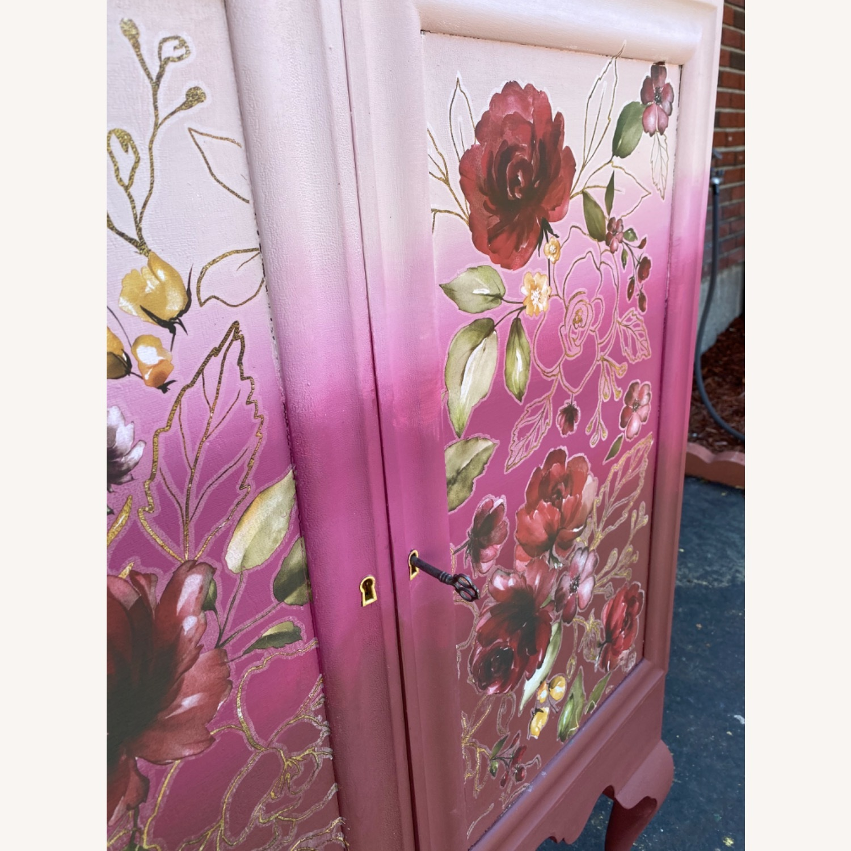 Vintage Pink Ombr Floral Cabinet - image-10