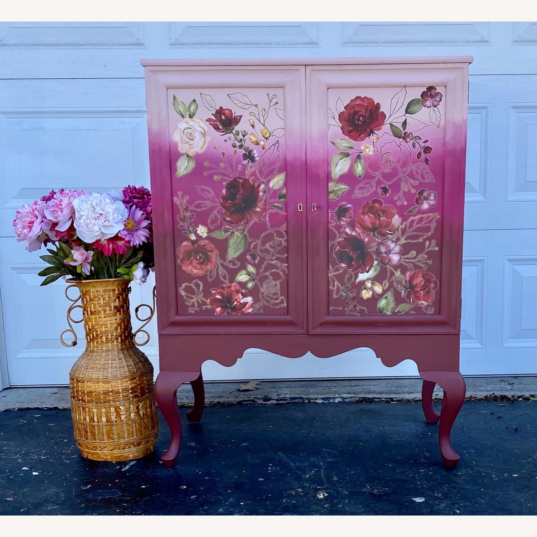 Vintage Pink Ombr Floral Cabinet - image-2