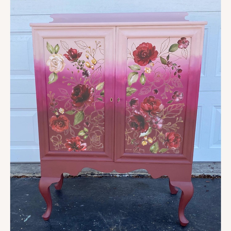 Vintage Pink Ombr Floral Cabinet - image-6