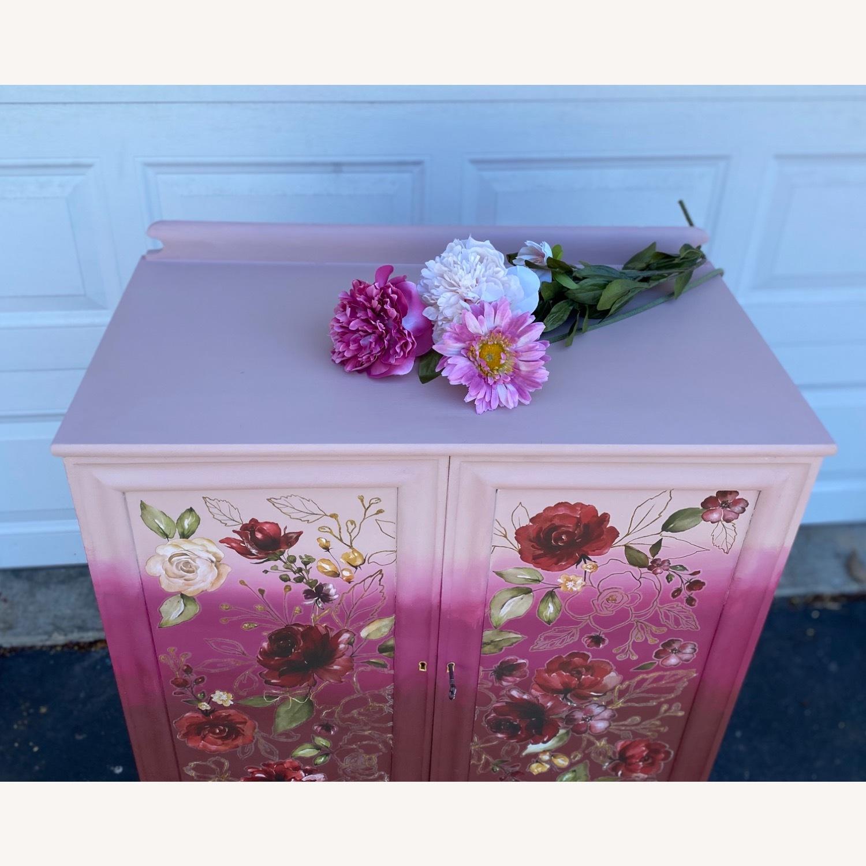 Vintage Pink Ombr Floral Cabinet - image-8