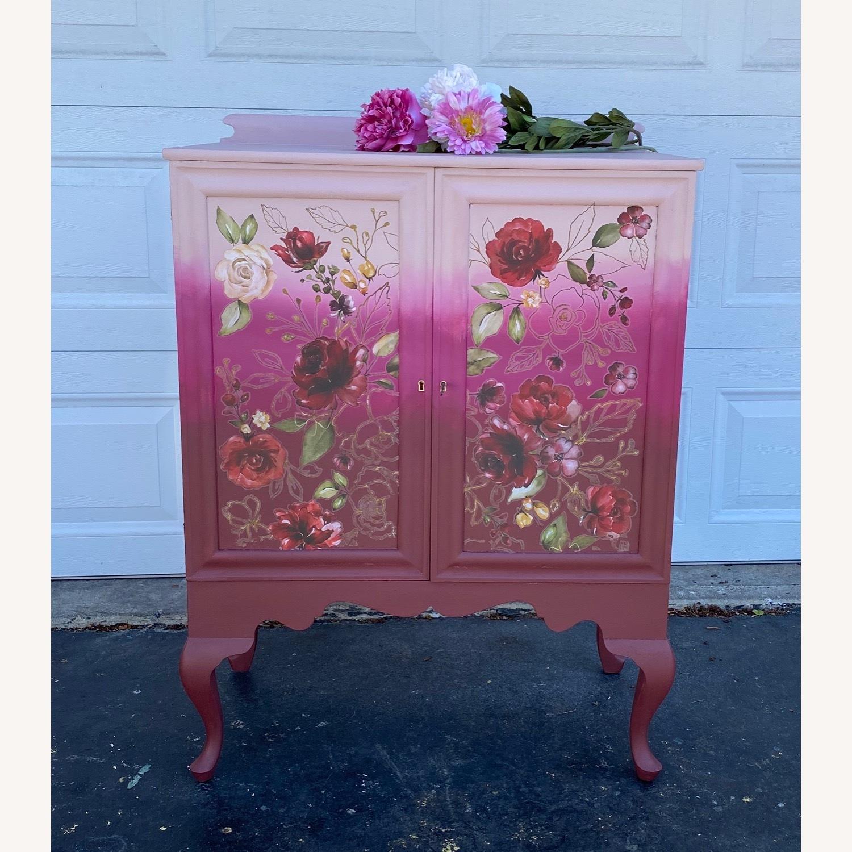 Vintage Pink Ombr Floral Cabinet - image-1