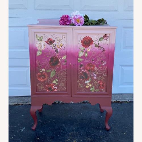 Used Vintage Pink Ombr Floral Cabinet for sale on AptDeco