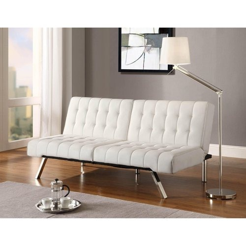 Used DHP Furniture White Faux Leather Futon for sale on AptDeco