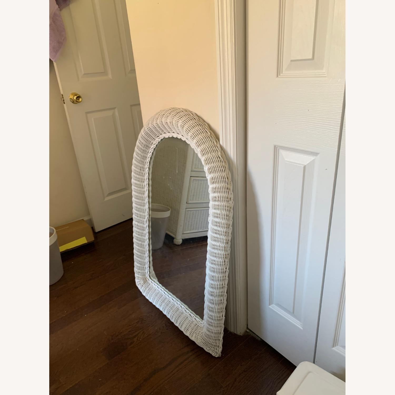 White Wicker Mirror - image-4