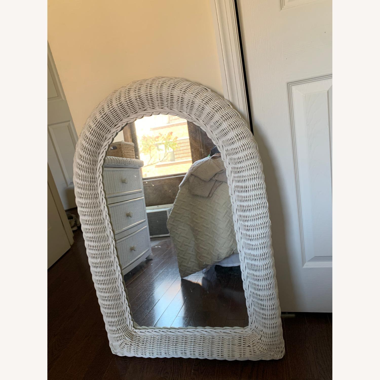 White Wicker Mirror - image-5