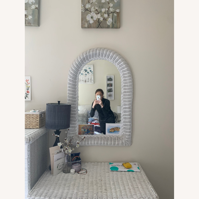 White Wicker Mirror - image-1