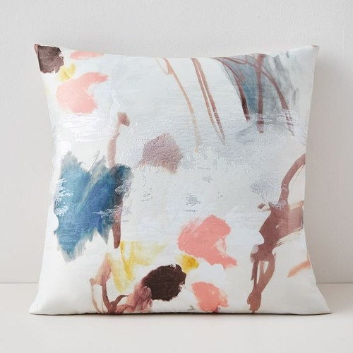 Used West Elm Gilded Watercolor Brocade Pillow for sale on AptDeco