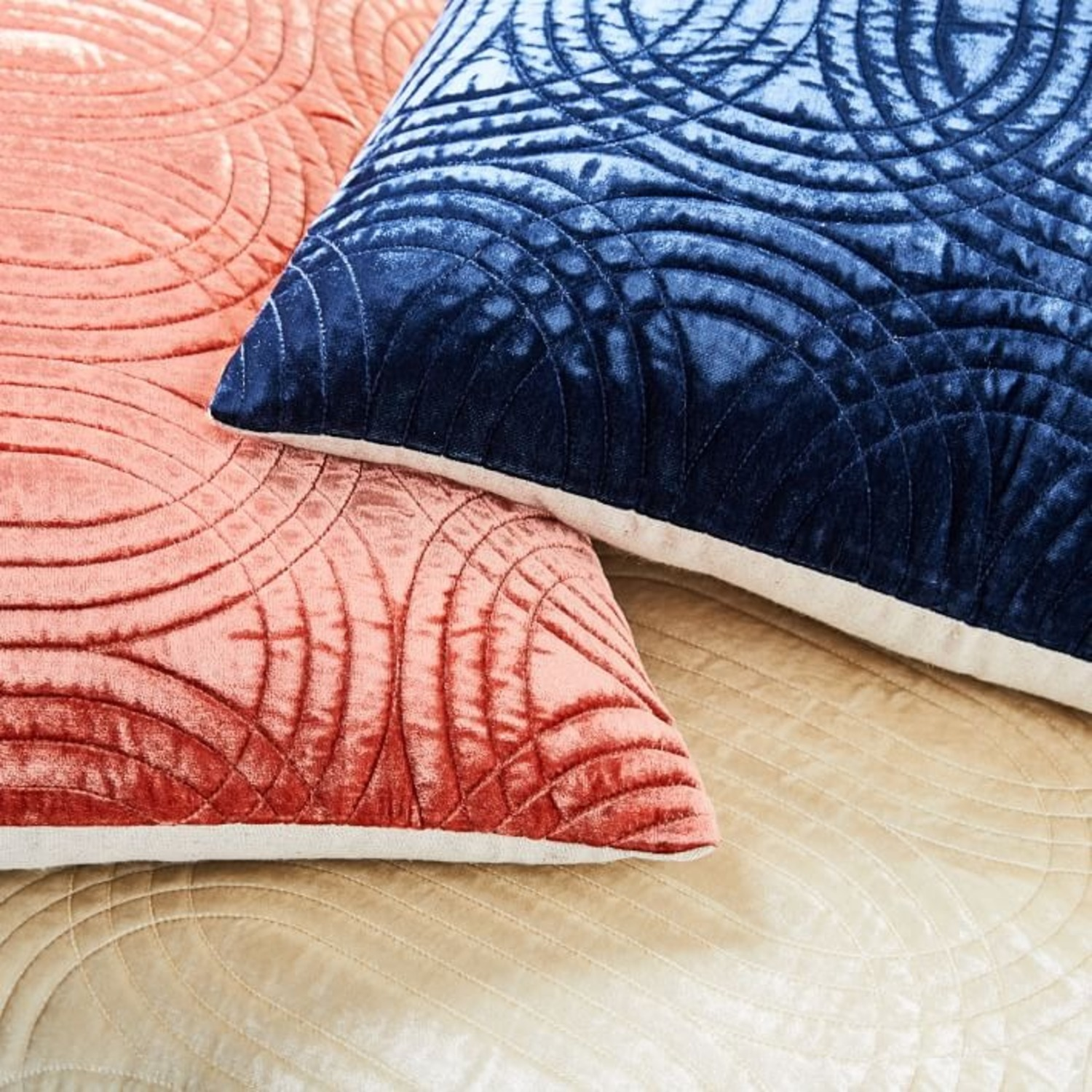 West Elm Lush Velvet Infinity Quilted Pillow - image-3