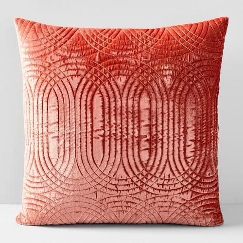 Used West Elm Lush Velvet Infinity Quilted Pillow for sale on AptDeco