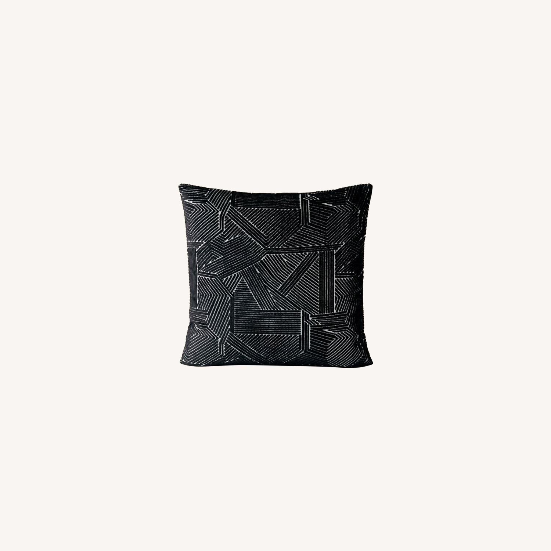West Elm Linear Cut Velvet Pillow - image-0