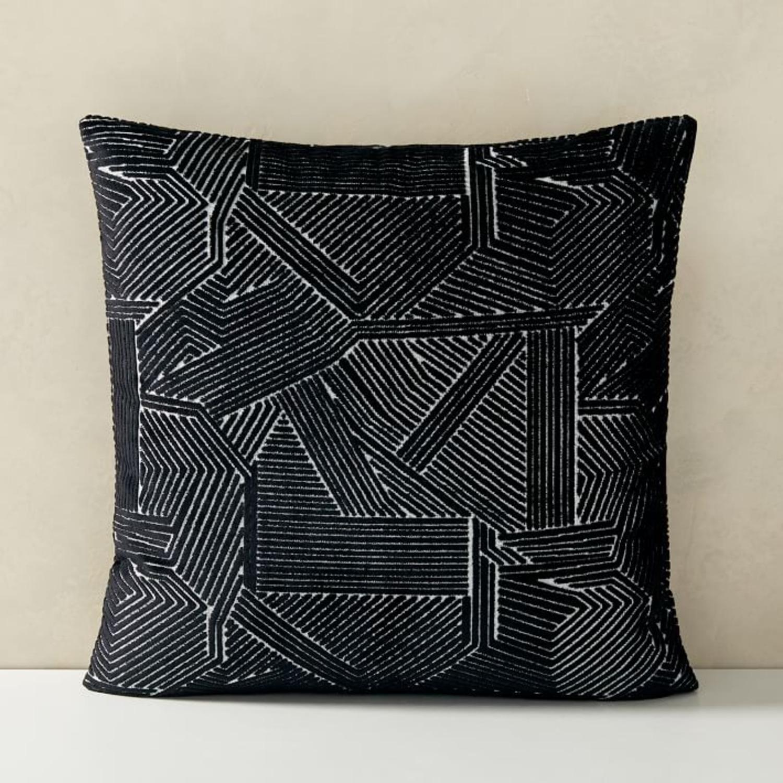 West Elm Linear Cut Velvet Pillow - image-3