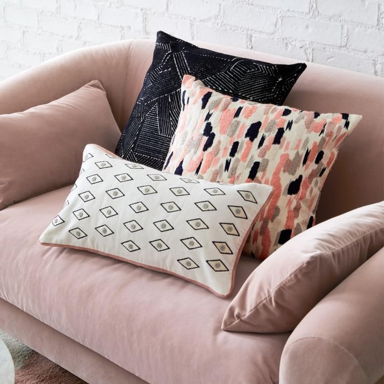 West Elm Linear Cut Velvet Pillow - image-2