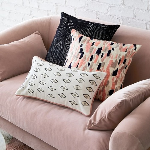 Used West Elm Linear Cut Velvet Pillow for sale on AptDeco