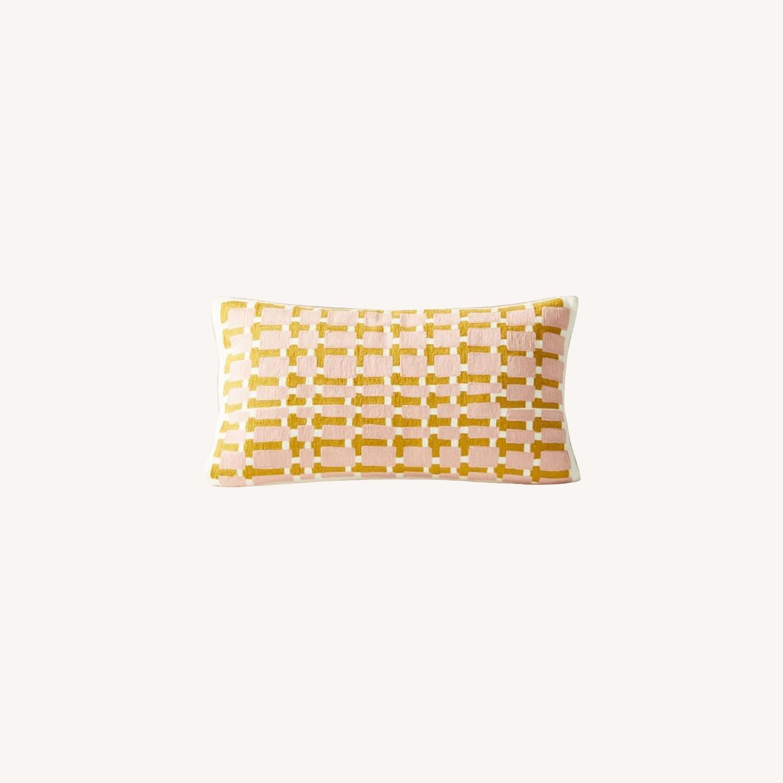 West Elm Block Grid Pillow - image-0
