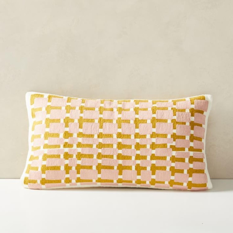 West Elm Block Grid Pillow - image-1