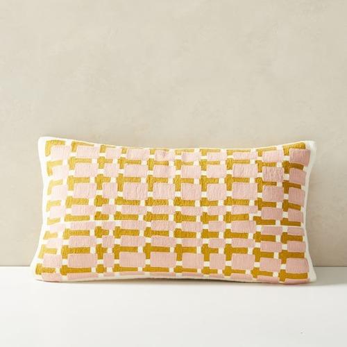 Used West Elm Block Grid Pillow for sale on AptDeco