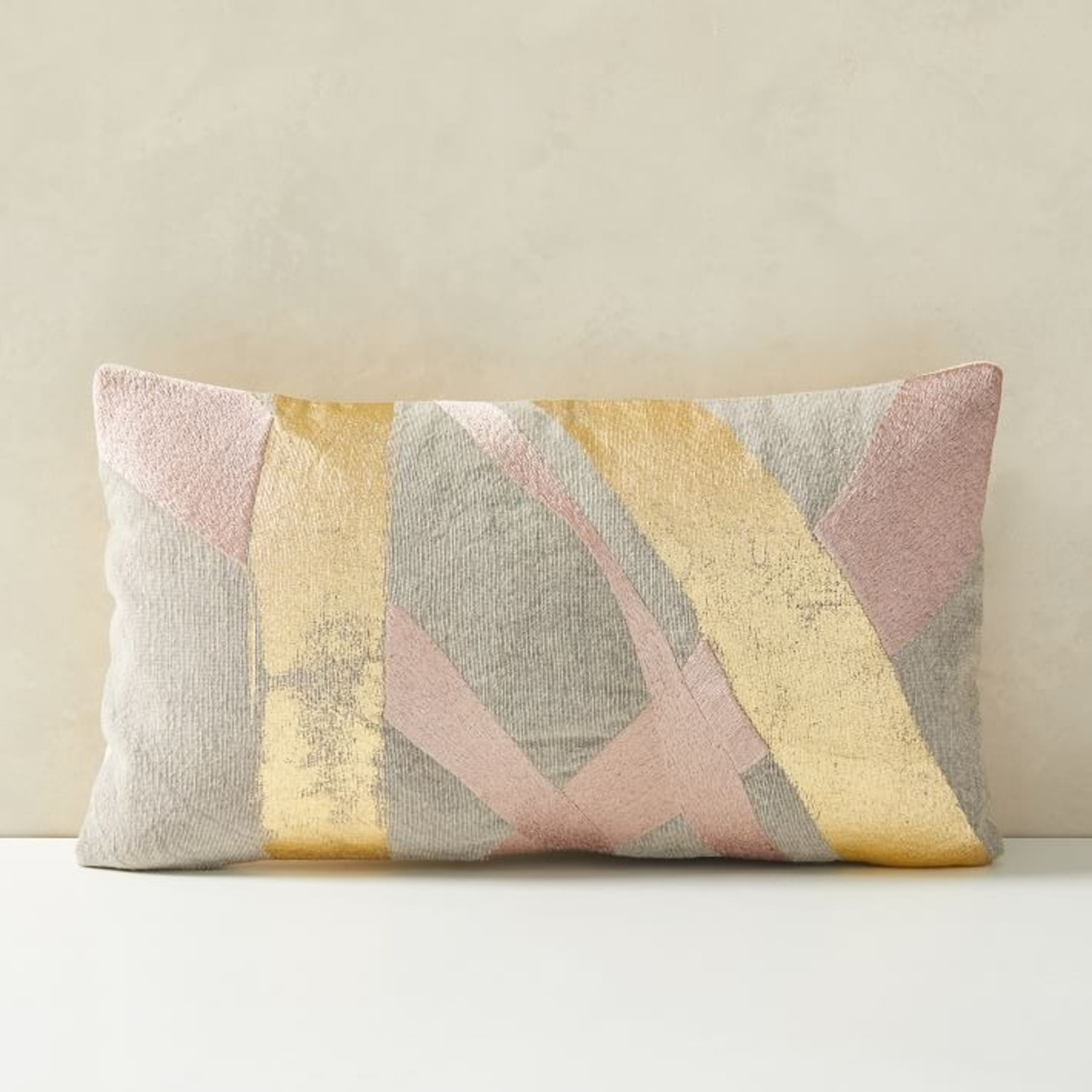 West Elm Embroidered Metallic Ribbon Pillow - image-1