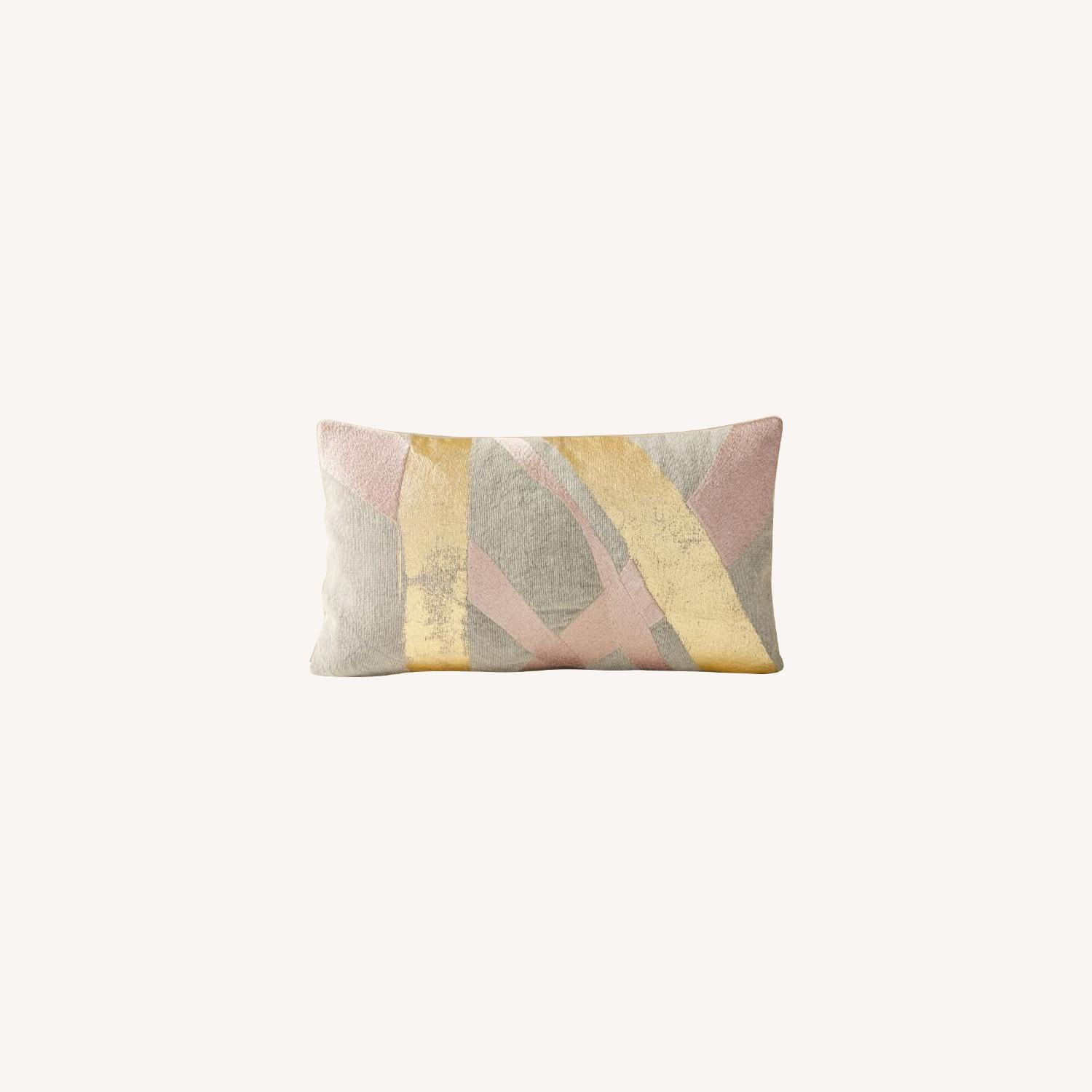 West Elm Embroidered Metallic Ribbon Pillow - image-0