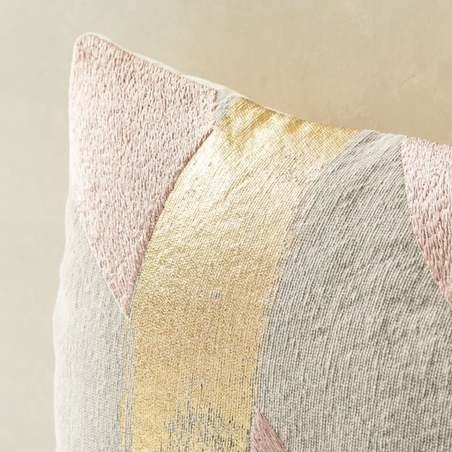 West Elm Embroidered Metallic Ribbon Pillow - image-3