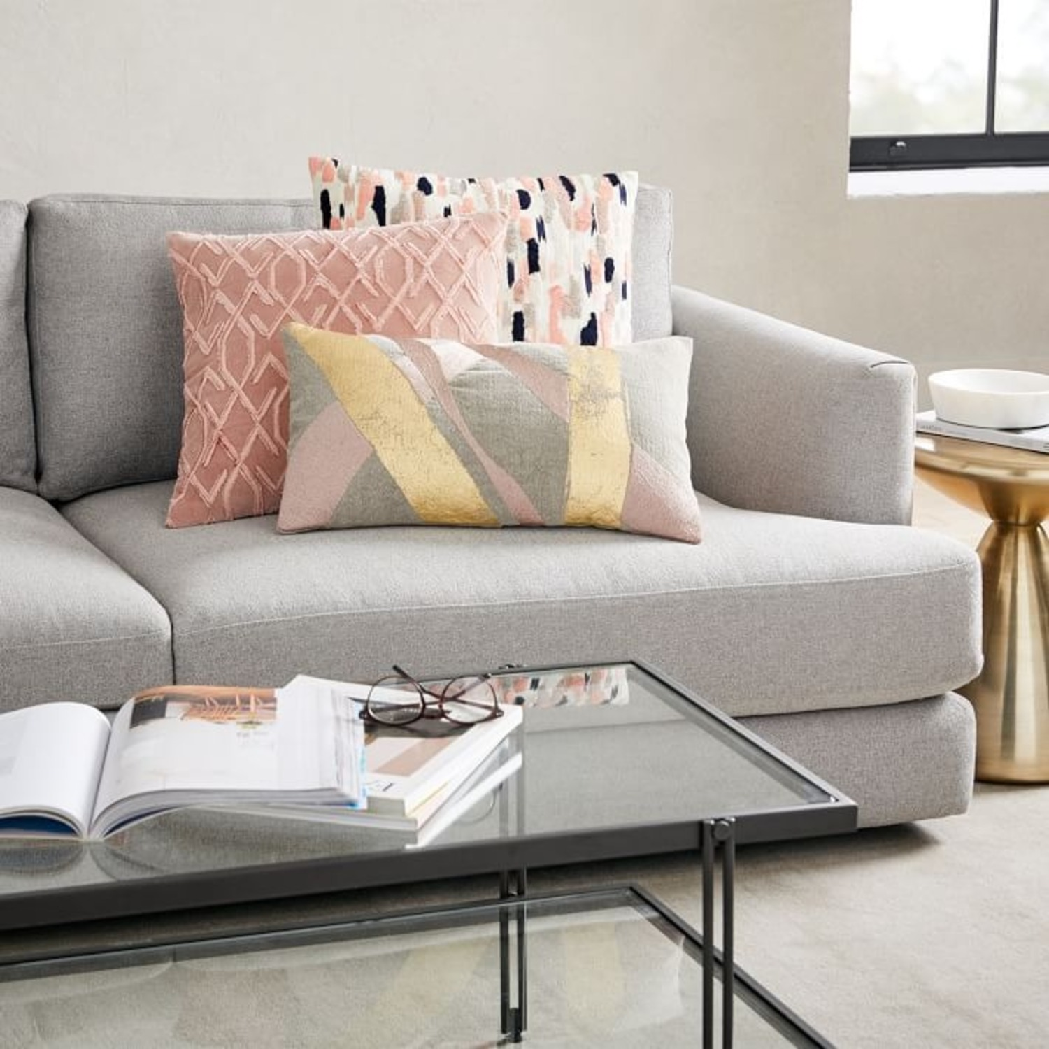 West Elm Embroidered Metallic Ribbon Pillow - image-4