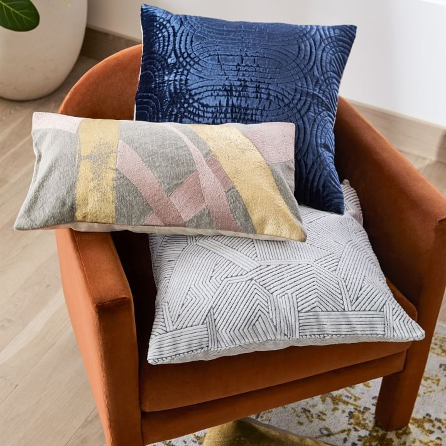 West Elm Embroidered Metallic Ribbon Pillow - image-2