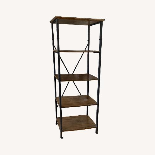 Used Baxton Studio Brown Wood & Metal Bookcase for sale on AptDeco