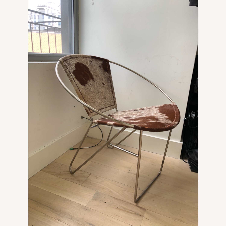 Picture of: Wayfair Hide Metal Leather Barrel Chair Aptdeco
