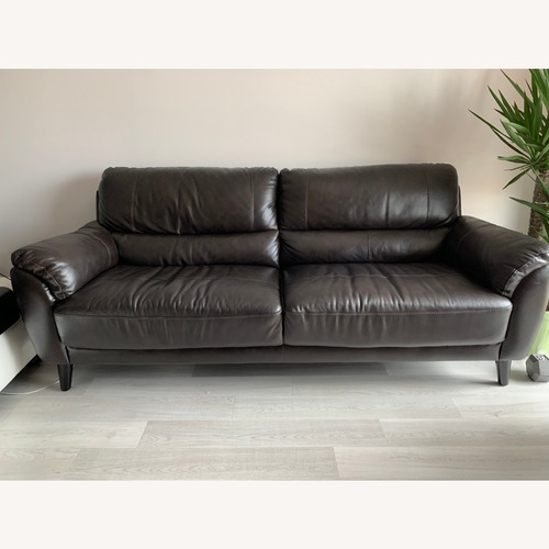 Used Abbyson Living Top-grain Leather Brown Sofa for sale on AptDeco