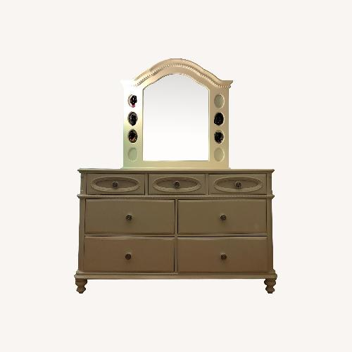 Used Pulaski Furniture White Wooden Dresser with Mirror for sale on AptDeco