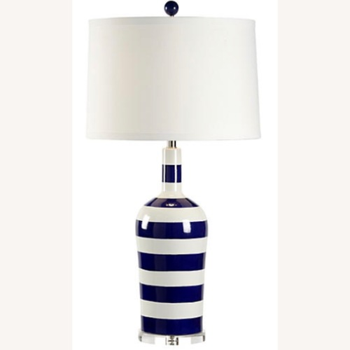 Used Beach Stripe Porcelain Lamp for sale on AptDeco