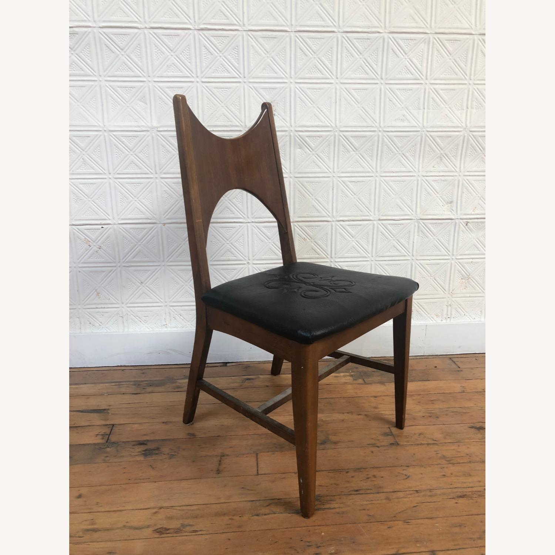 Mid Century Walnut Chair with Black Vinyl Seat - image-6