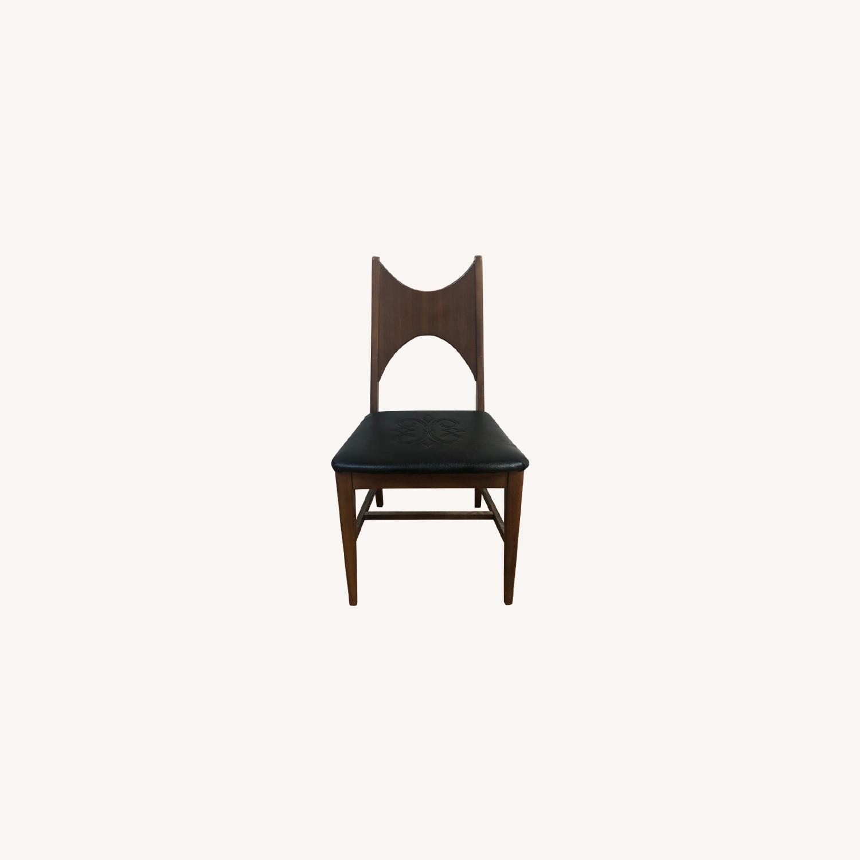 Mid Century Walnut Chair with Black Vinyl Seat - image-0