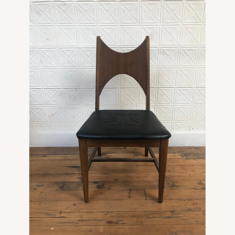 Mid Century Walnut Chair with Black Vinyl Seat - image-1