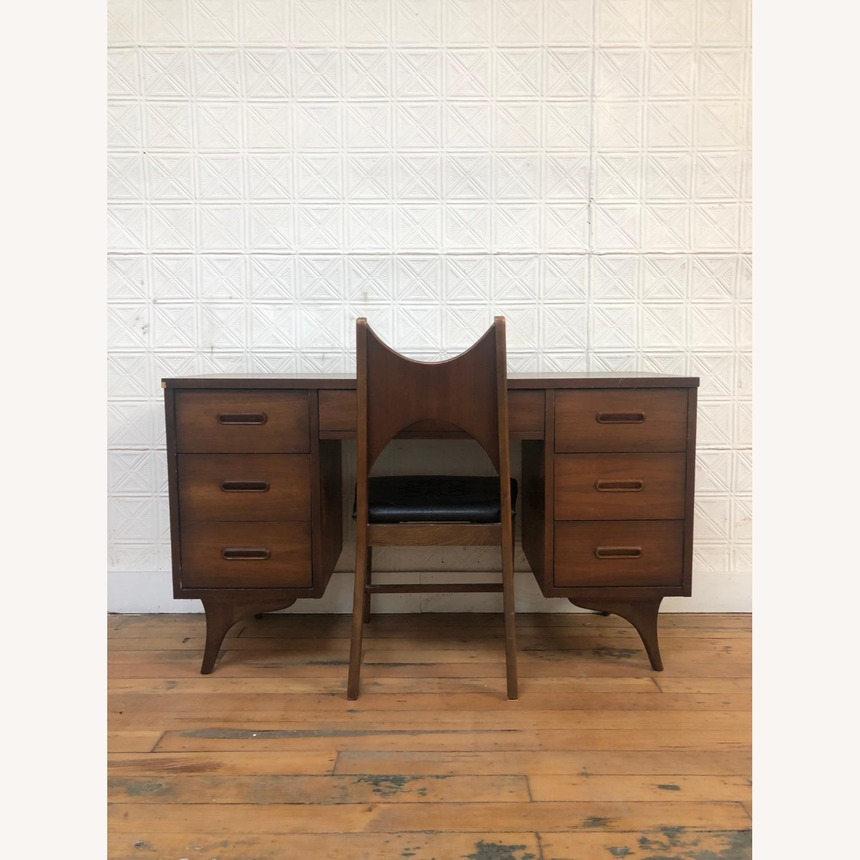 Mid Century Walnut Chair with Black Vinyl Seat - image-3