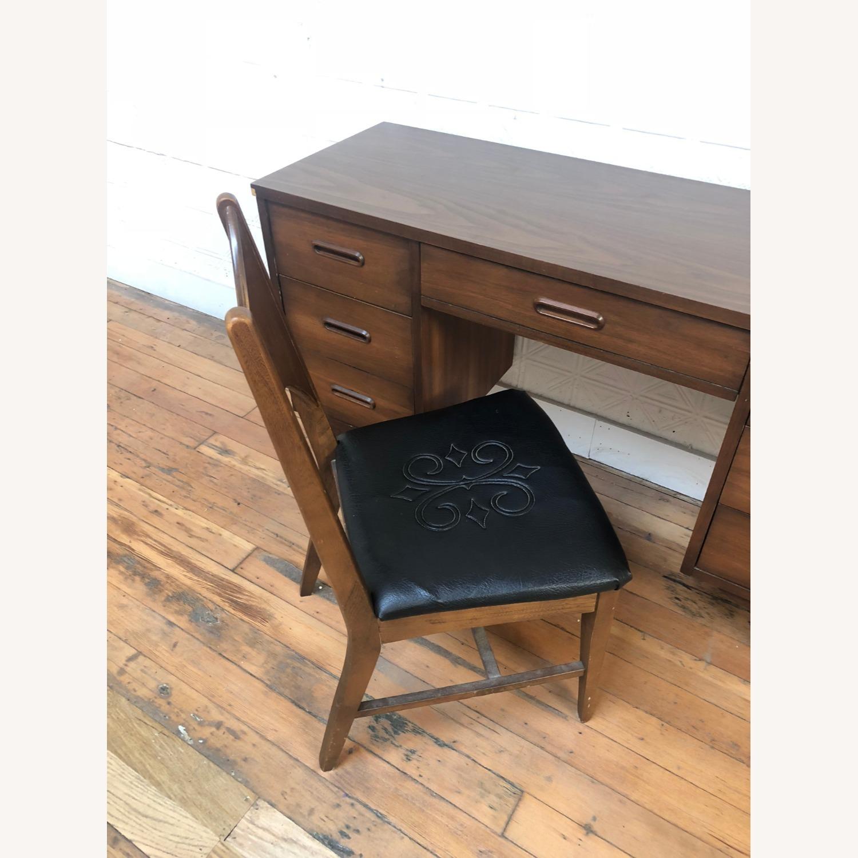 Mid Century Walnut Chair with Black Vinyl Seat - image-2