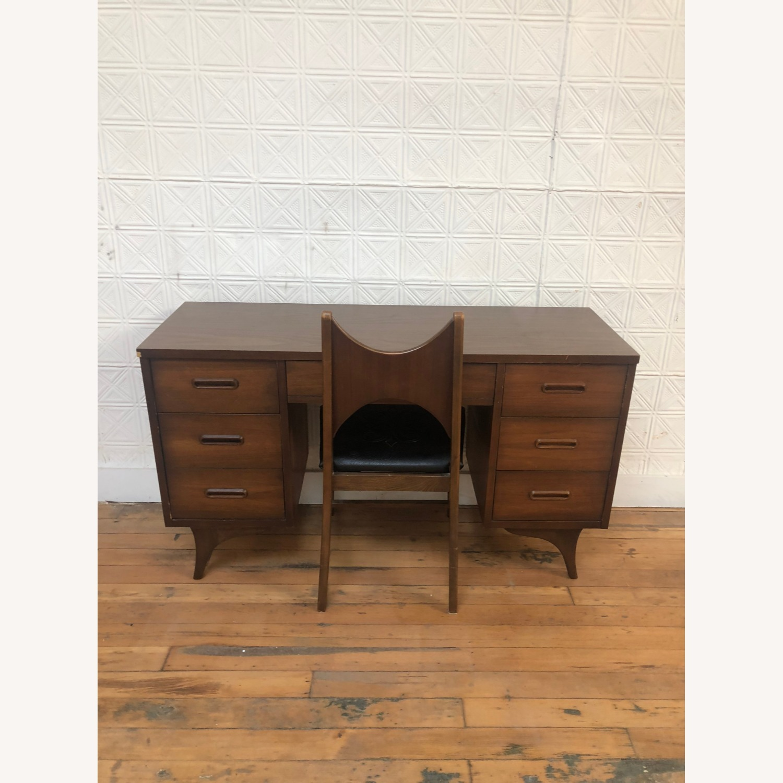 Mid Century Walnut Chair with Black Vinyl Seat - image-5